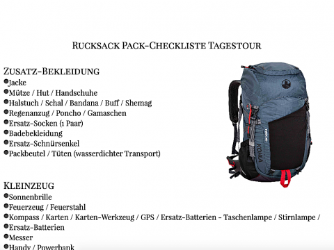 Packliste Tagestour Rucksack Titelbild