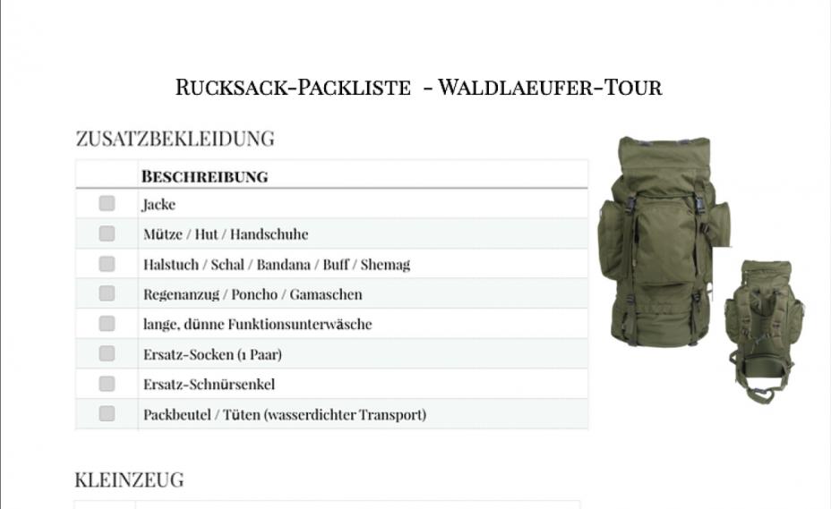 Titelbild Checkliste Waldläufer Rucksack