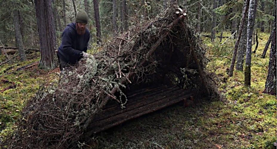 Ein Bushcraft Shelter bauen